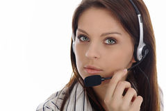 Menina do apoio a o cliente. Centro de chamadas Imagem de Stock