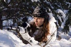 Menina do atirador furtivo Fotos de Stock Royalty Free