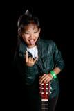 Menina do balancim com uma guitarra Imagens de Stock Royalty Free