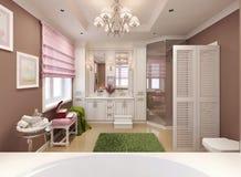 Menina do banheiro das crianças no rosa Fotografia de Stock
