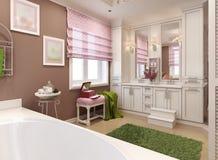 Menina do banheiro das crianças no rosa Foto de Stock Royalty Free