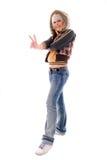 Menina do Blonde das calças de brim. foto de stock