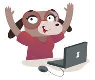 Menina do cão do lerdo que usa um computador Ilustração do Vetor