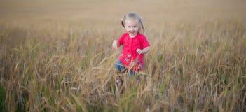 Menina do cabelo de Brown que joga no campo do centeio Imagens de Stock Royalty Free