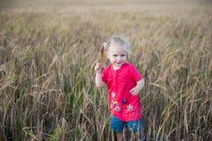 Menina do cabelo de Brown que joga no campo do centeio Fotos de Stock