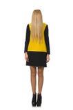 Menina do cabelo louro na roupa amarela e preta Foto de Stock