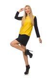 Menina do cabelo louro na roupa amarela e preta Fotografia de Stock Royalty Free