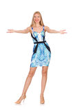 Menina do cabelo louro no mini vestido azul isolado sobre Imagem de Stock Royalty Free
