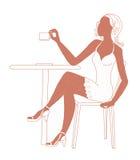 Menina do café ilustração royalty free