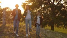A menina do caminhante, meninas viaja com as trouxas através das madeiras Menina do caminhante Caminhadas da família nas madeiras filme
