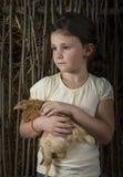 Menina do campo no milho que guarda um pintainho Fotografia de Stock