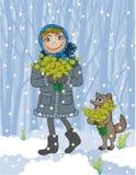 A menina do cartão com uma mola do recolhimento do cão floresce Fotografia de Stock Royalty Free