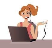 Menina do centro de chamadas ilustração royalty free