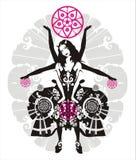 Menina do circo de Multihanded com as esferas ilustração stock