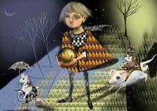 Menina do conto de fadas, príncipe em um trajeto em uma floresta do conto de fadas Fotos de Stock