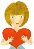 Menina do coração Imagens de Stock Royalty Free