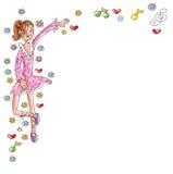 A menina do dançarino com vestido cor-de-rosa, as notas e o humorista cômico dos corações projetam Foto de Stock Royalty Free