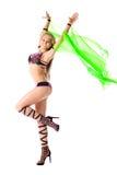 Menina do dançarino da beleza com as asas verdes isoladas Fotografia de Stock Royalty Free