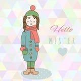 A menina do desenho da mão de Catoon na roupa do inverno olha, Fotografia de Stock