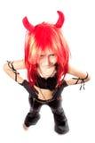 Menina do diabo. Traje do carnaval dos diabos. imagens de stock