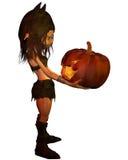 Menina do diabrete com lanterna da abóbora Fotografia de Stock