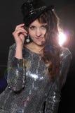 Menina do disco no vestido de prata imagem de stock royalty free