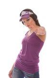 Menina do DJ que escuta a música com Imagem de Stock Royalty Free
