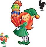 Menina do duende com mãos cheias dos presentes Foto de Stock Royalty Free