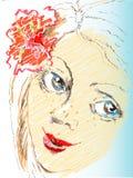 Menina do esboço do retrato do vetor com flor Imagens de Stock Royalty Free