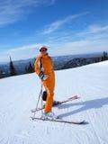 Menina do esqui da montanha Foto de Stock