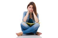 Menina do estudante com os livros isolados no branco Fotografia de Stock Royalty Free