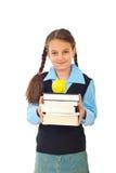 Menina do estudante com a pilha de livros Fotos de Stock