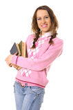 Menina do estudante com a pilha dos livros Imagem de Stock Royalty Free