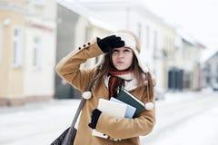 Menina do estudante no inverno Imagem de Stock