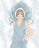 Menina do Flapper: Projeto retro do convite do partido Fotografia de Stock Royalty Free