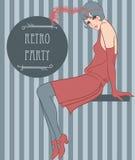 Menina do Flapper: Projeto retro do convite do partido Fotografia de Stock