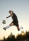 Menina do futebol Fotos de Stock Royalty Free