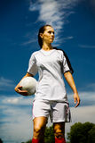 Menina do futebol Imagens de Stock Royalty Free