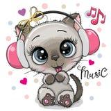 Menina do gato dos desenhos animados com fones de ouvido em um fundo branco ilustração stock
