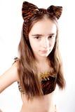 Menina do gato. Traje do carnaval do tigre. Fotos de Stock Royalty Free