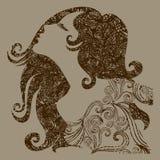 Menina do grunge do vetor com cabelo bonito Imagens de Stock Royalty Free