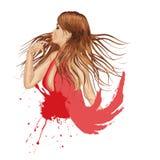 Menina do Grunge no vermelho Fotos de Stock Royalty Free