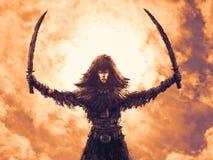 Menina do guerreiro com os dois sabres aumentados Ilustração da fantasia ilustração royalty free