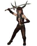 Menina do guerreiro do dragão - luta Imagens de Stock Royalty Free