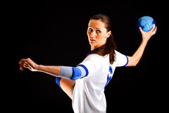 Menina do handball Fotos de Stock