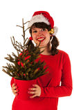 Menina do inverno com chapéu Papai Noel Foto de Stock Royalty Free