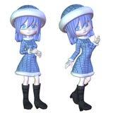 Menina do inverno dos desenhos animados Fotografia de Stock