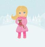 Menina do inverno e seu gato Imagens de Stock Royalty Free