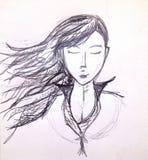 Menina do lápis fotografia de stock