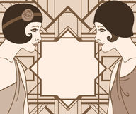 Menina do Lapper: Projeto retro do convite do partido Imagem de Stock